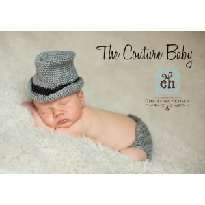 Grey & Black Crochet Fedora