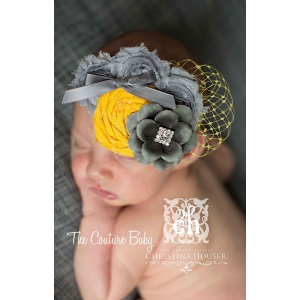 Silver Grey & Yellow Sunshine Glamour Veiled Headband