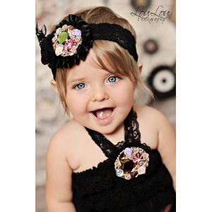 Mini Florals & Gems Black Flower Lace Headband