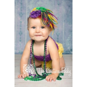 Mardi Gras Purple Green & Gold Feather & Bead Headband