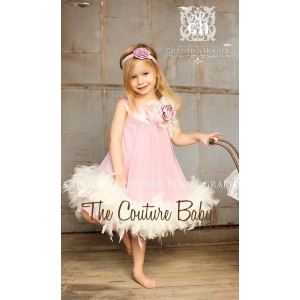Mauve & Cream Couture Feather Dress