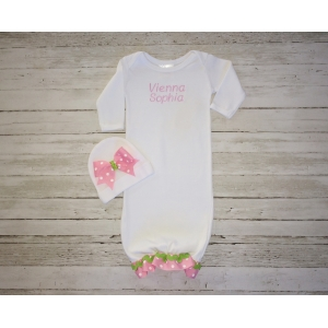 Pink & Green Personalized Layette Gown & Hat Set