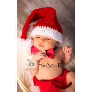 Little Man Hat & Diaper Cover Christmas Set