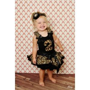 Leopard Cheetah Print Personalized Birthday Petti Skirt 2 Pc Set One Two Three