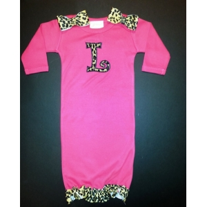 Hot Pink &  Leopard Trim Personalized Layette Gown