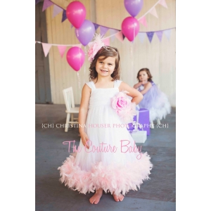 Pink Frosting Tulle Feather Dress