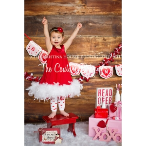 Red & White Couture Swing Feather Dress