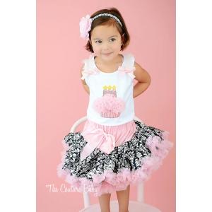 """""""I'm Three"""" Pink & White Damask Pettiskirt Set"""