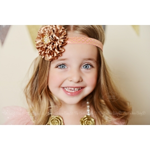 Golden Peach Quatrefoil Headband