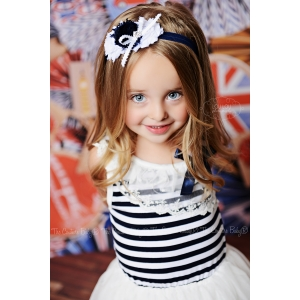 Navy & White Sailor Floral Headband