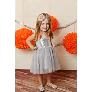 Silver Sequin & Orange Sequin Tulle Dress