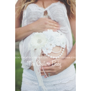 Mommy to Be White Maternity Belly Sash Photo Prop