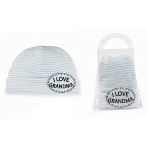 Grandma Light Blue & White Stripe Hat