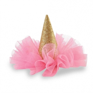 Glitter Party Hat Clip Gold & Hot Pink