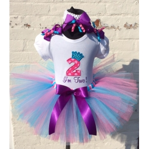 """Bow Beautiful Birthday Party Princess"" Colorful 3 pc Personalized Tutu Set"