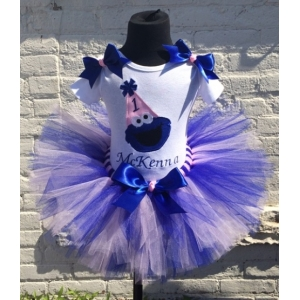 Cookie Blue & Pink Personalized Birthday Hat Tutu Set