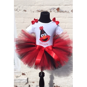 Elmo Sparkle Red  & Black Personalized Tutu Set