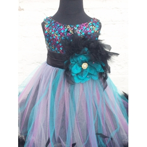 Sequin Peacock Feather Couture Dress