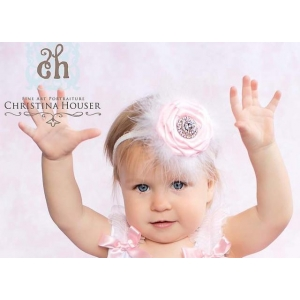 Pink Fluff Rose & Crystal Headband
