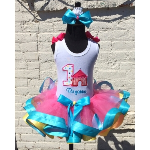 Colorful Carnival Birthday Hot Pink Ribbon Tutu Set