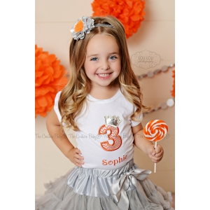 Silver Melon Chevron Princess Birthday Shirt