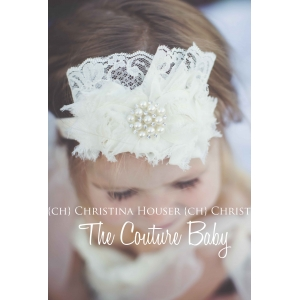 Cream Lace Pearl Rosette Headband