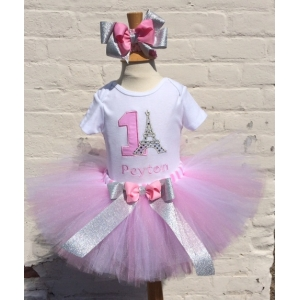"""Pardon My French"" Eiffel Tower Personalized Birthday Shirt & Tutu Set"