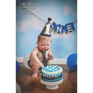 Boys 1st Birthday 3 Pc Navy Plaid Cake Smash Set