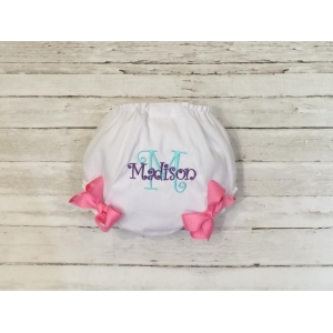 Embroidered name and Initial Diaper Cover with bows
