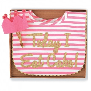 Cake Smash Bib & Headband Set  Gold Coral Mud Pie