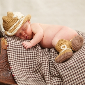 Cowboy Crochet Hat & Boots Set Mud Pie