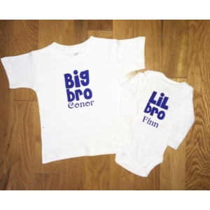 Big & Little Brother Personalized Shirt & Onesie Set