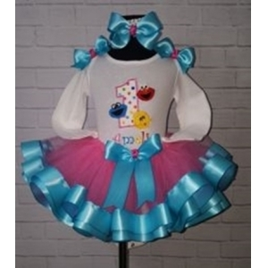 Elmo Cookie Big Bird Birthday Personalized Ribbon Tutu 3 Pc. Set