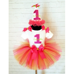 Fuchsia & Lime Personalized Birthday Tutu 3 pc Set-Age 1 2 3 4 5
