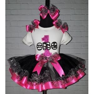 Hot Pink & Zebra Print Personalized Glitter Ribbon Tutu 3 Pc. Set