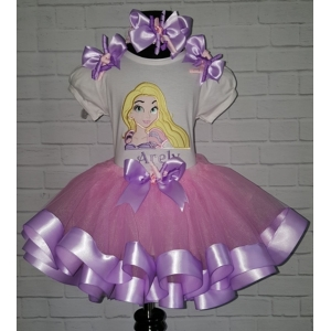 Rapunzel Pink & Lavender 3 Pc Ribbon Tutu Personalized Birthday Set