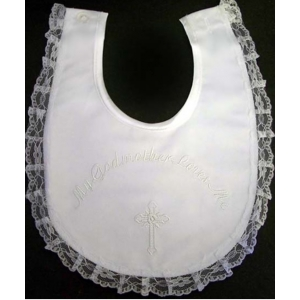 My Godmother Loves Me Christening Lace Bib