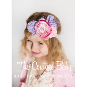 Pink & Lavender Dream Ribbons & Lace Vintage Floral Headband