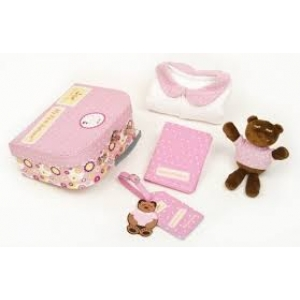 Pink First Suitcase Pajama Bear & Passport Cover Gift Set