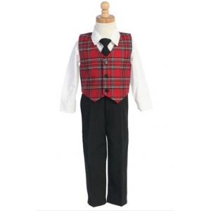 Infant & Toddler Boys Red Plaid Vest & Pants Holiday 4 pc Set