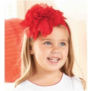 Red Jumbo Chiffon Flower Soft Headband