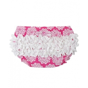 Summer Vintage Hot Pink & White Floral Ruffle Butts Diaper Cover
