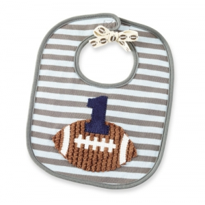 First Birthday Blue Football Bib