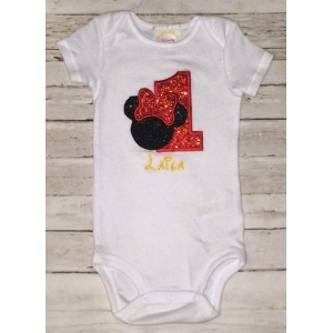 1st Birthday Personalized Glitter Minnie Onesie