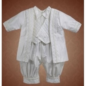 Christie Helene Prince Harry Boys Ivory Silk Christening Baptism Outfit with Hat (6m)
