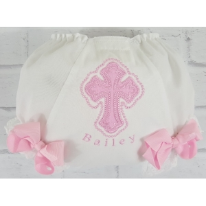 Personalized Cross Baptism or Christening Diaper Cover Bloomers