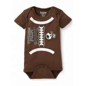 Brown & White Daddy's Little Football Onesie One Piece Sara Kety