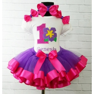 Hawiian Hibiscus Purple & Hot Pink Personalized Ribbon Tutu 3 Pc. Set