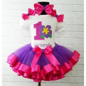 Hawiian Hibiscus Purple & Hot Pink Personalized Ribbon Tutu 3 Pc. Set