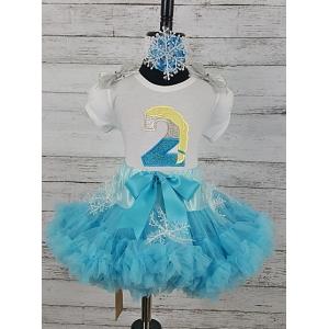 Elsa Frozen Glitter Personalized Birthday Age Shirt & Snowflake Petti Skirt 3 Piece Set